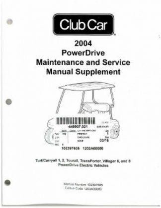 2004 club car fe350 golf cart maintenance service manual supplement rh repairmanual com 2004 Club Car Rear Brakes 2004 Club Car Rear Brakes