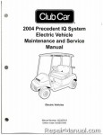 Official 2004 Club Car Precedent IQ System Electric Vehicle Electric Service Manual