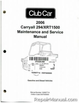 2006 Club Car Ds Golf Car Gas And Electric Service Manual