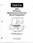Official 2007 Club Car IQ System Vehicle Maintenance And Service Supplement