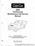 Official 2008-2011 Club Car Turf/Carryall Turf 1, Turf 2, Turf 6, Carryall 1, Carryall 2, Carryall 2 Plus, Carryall 6 Gas and Electric Service Manual