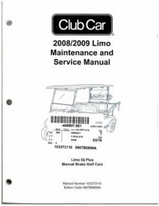 2008-2009 Club Car Limo IQ Plus Manual Brake Golf Cart Service Manual
