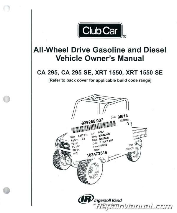 club car carryall 295 295 se xrt 1550 1550 se owners manual club car service manual pdf service manual club car golf carts