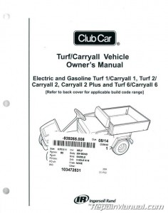 Club Car Turf / Carryall Owners Manual