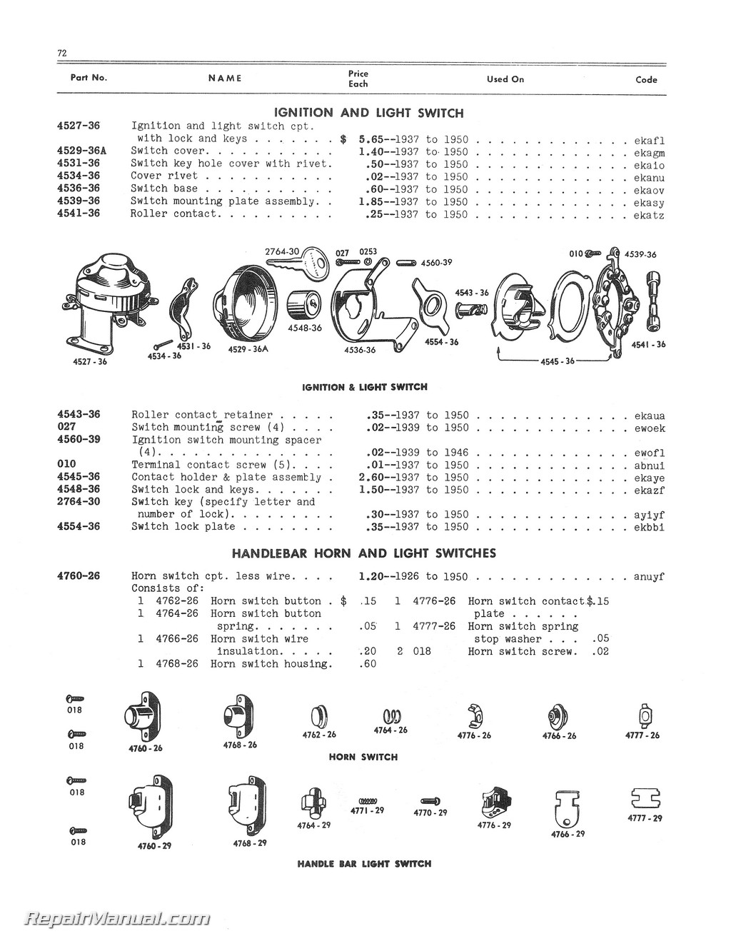 Harley Davidson Online Parts Diagram Rear Fender Trusted Wiring Diagrams 1940 1950 45 Cubic Inch 750cc Solo Servi Car Manual
