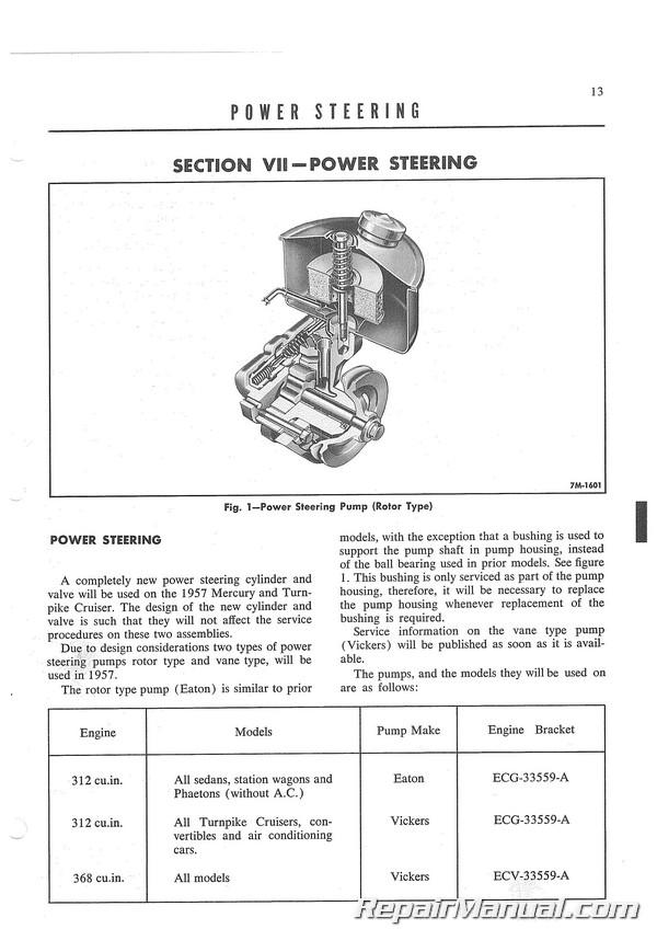1957 Mercury Monterey Montclair Turnpike Cruiser Advance Service Information ...