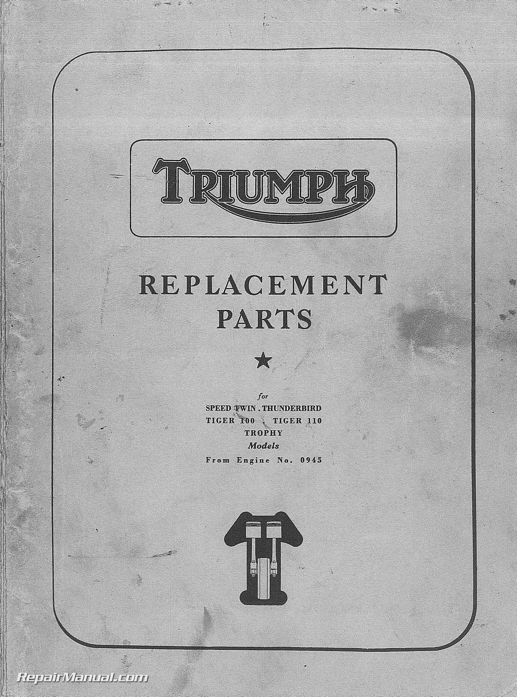 triumph speed twin thunderbird tiger    trophy parts manual