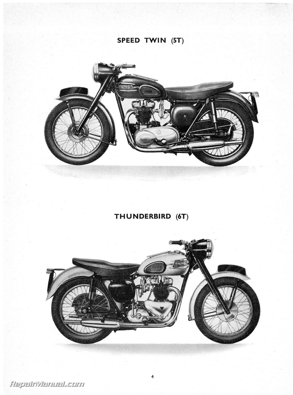 1957 Triumph Speed Twin, Thunderbird, Tiger 100 110 and Trophy Parts Manual