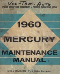 Ford Mercury Maintenance Manual 1960 Used