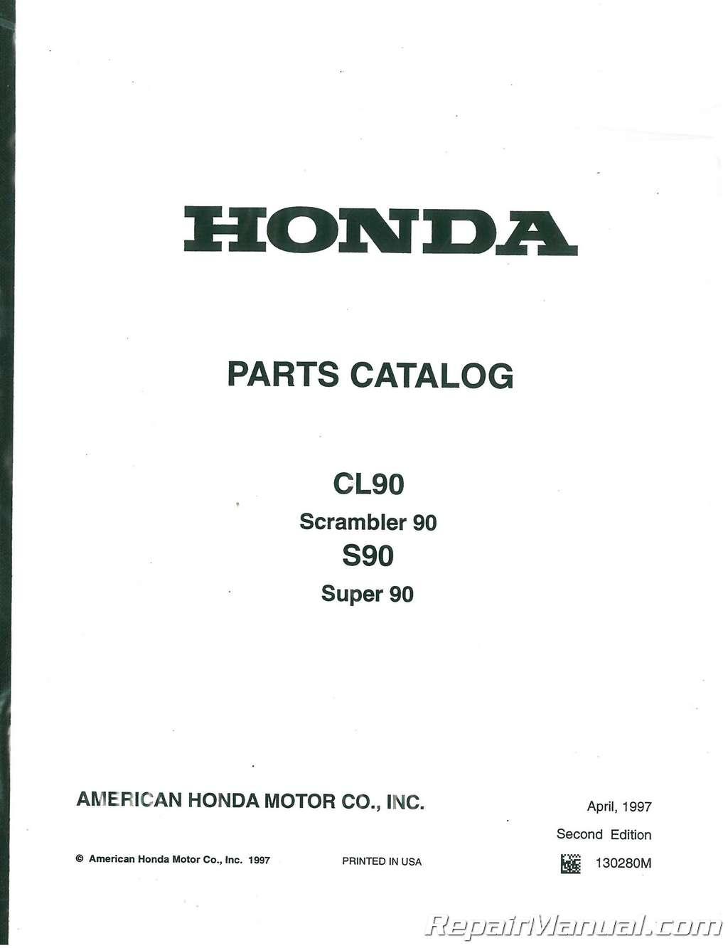 1964 1969 honda cl90 s90 motorcycle parts manual list rh repairmanual com  honda trail 90 parts breakdown