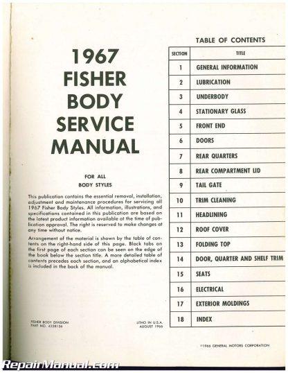 1967 fisher body service manual all body styles rh repairmanual com Fisher Body Ohio Fisher Body Logo