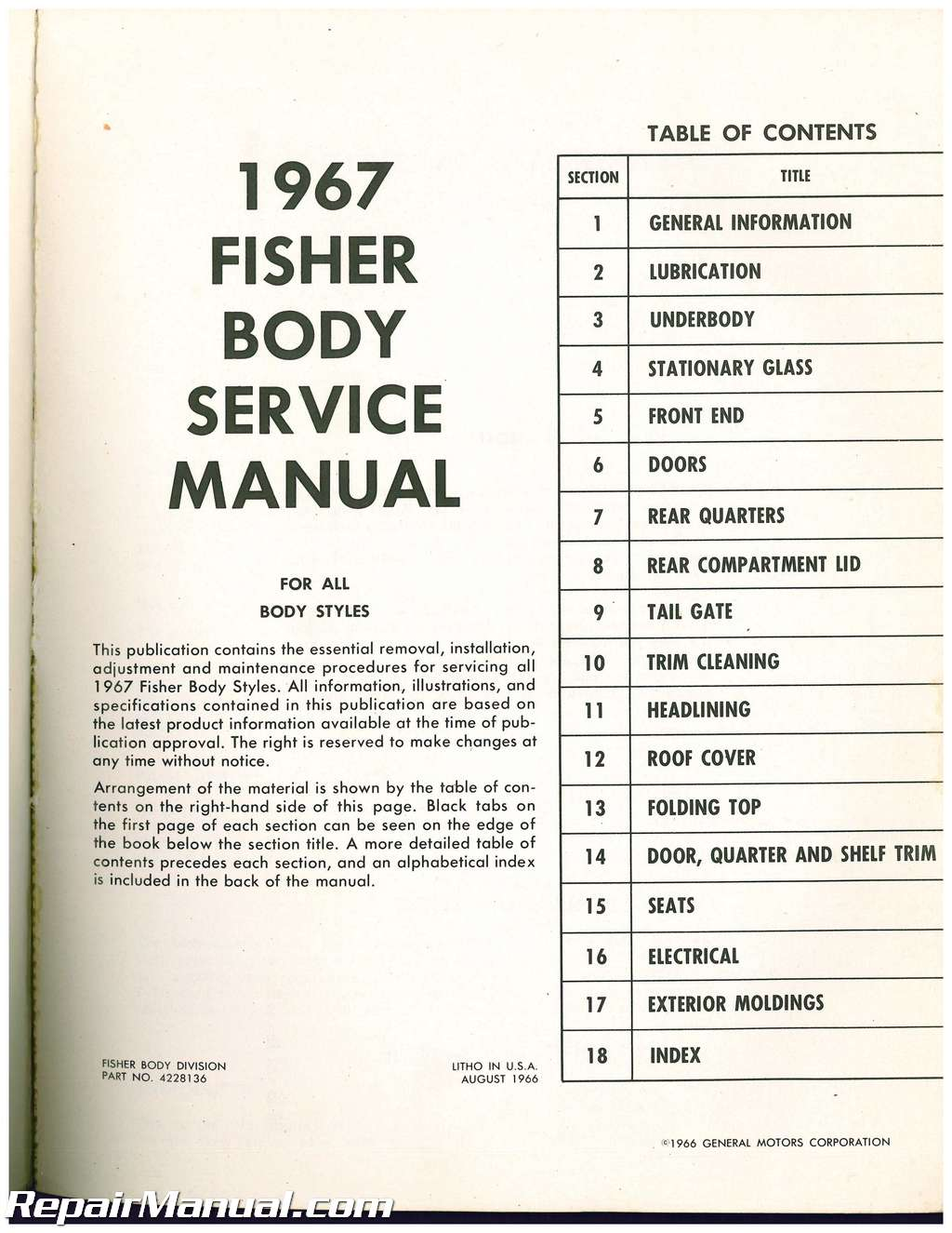 1967 fisher body service manual all body styles Fisher Body Assembly Line Fisher 9800 Body by Vi