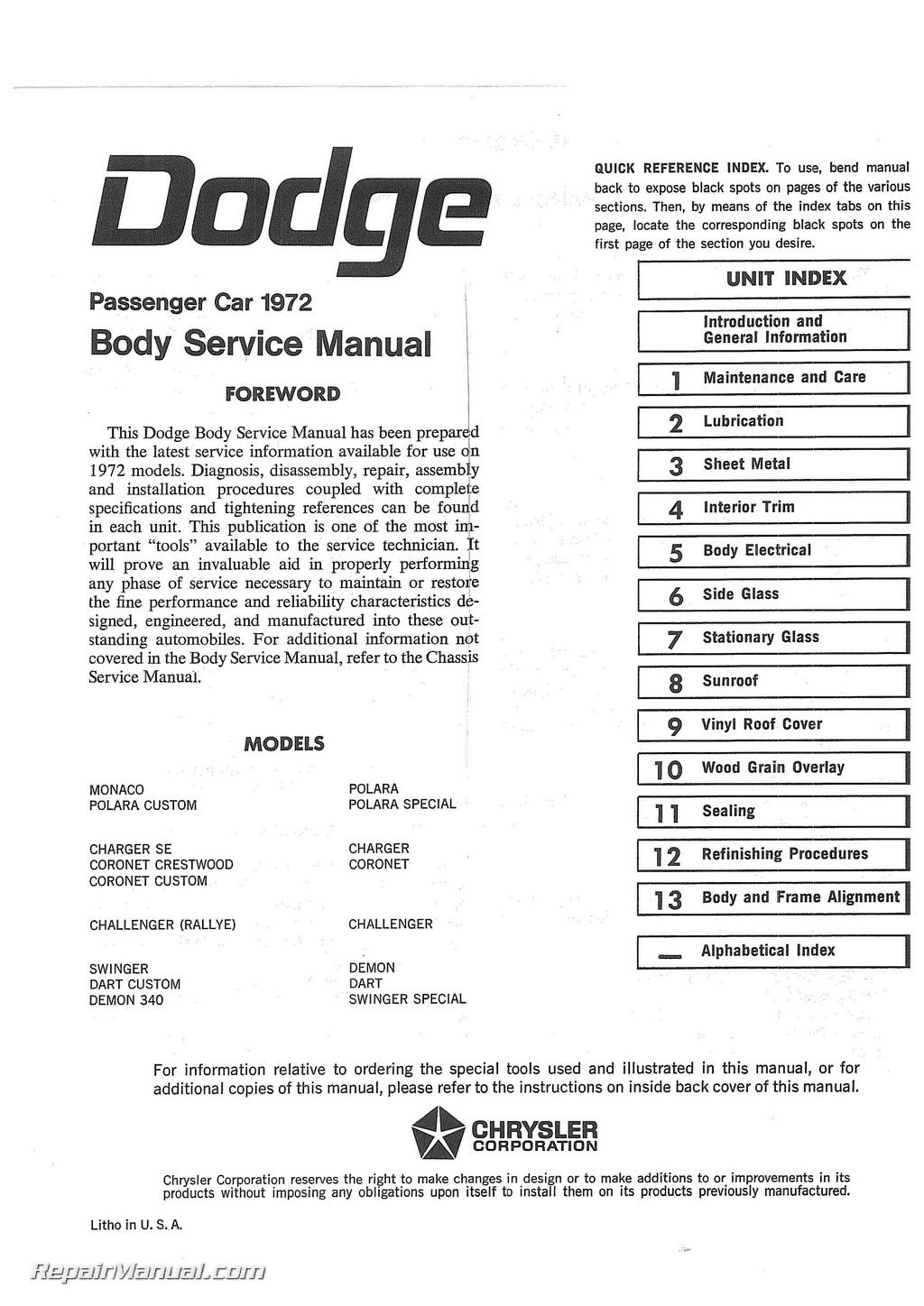 1972 dodge charger parts catalog