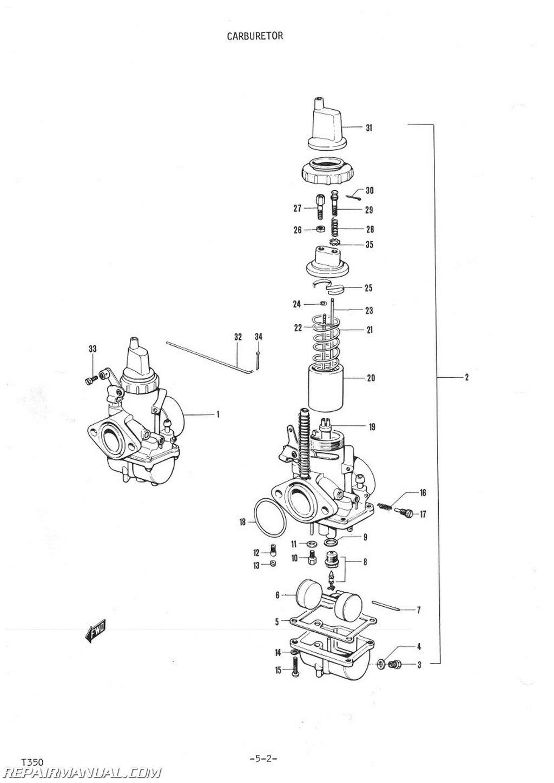 1972 suzuki t350 parts manual rh repairmanual com on Suzuki Gt750 Wiring  Diagram for suzuki t350