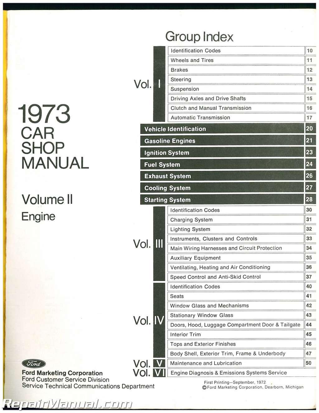 Used 1973 Ford Car Shop Manual Volume 2 Engine
