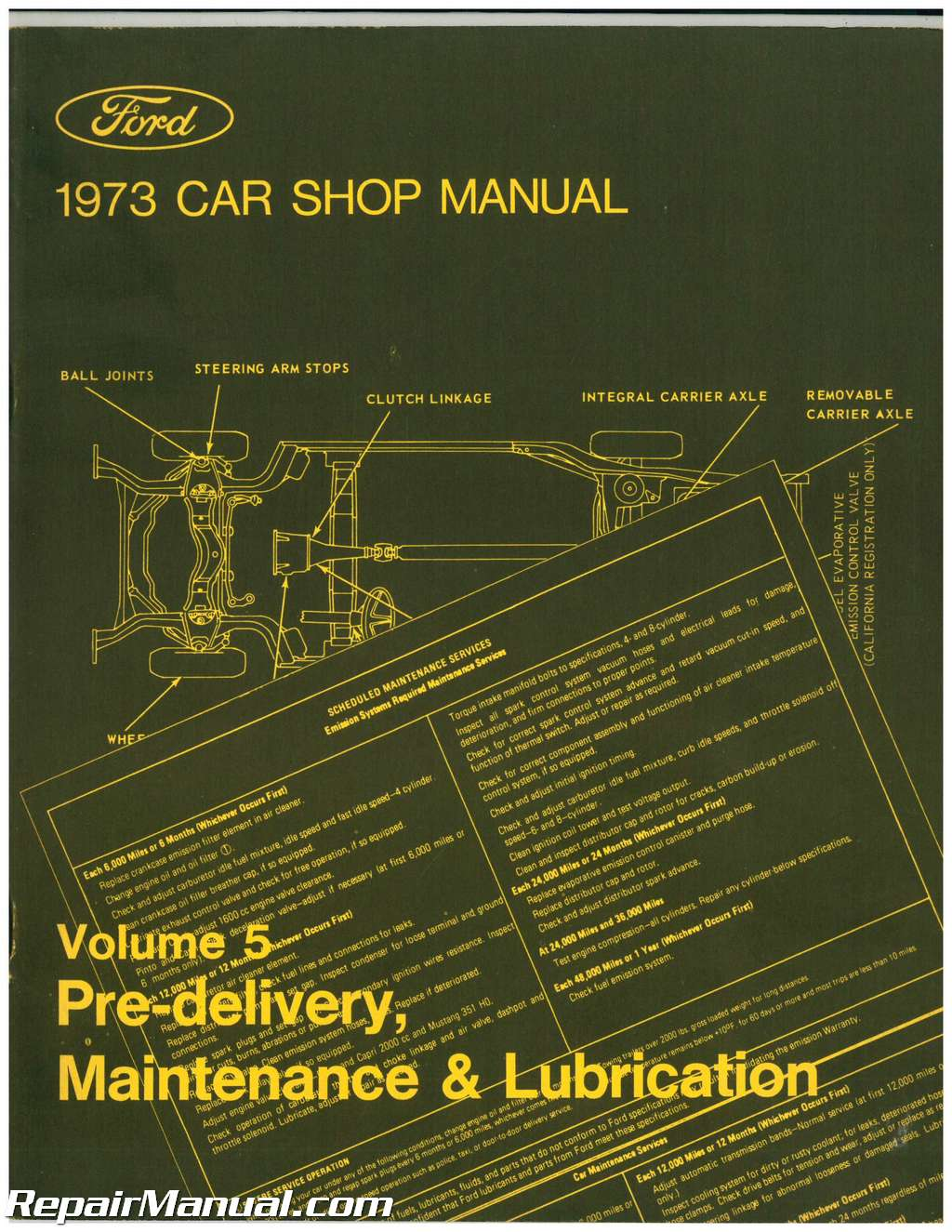 used 1973 ford car shop manual volume 5 pre delivery maintenance rh repairmanual com used shop mannequins used shop manuals