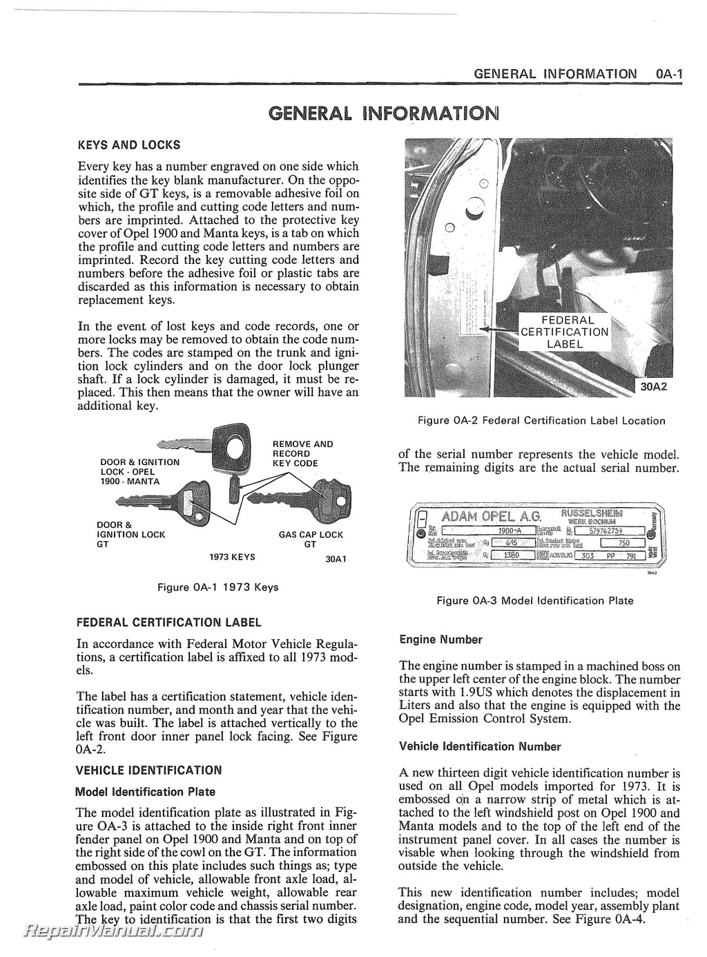 1973 Opel 1900 Manta And Gt Service Manual Ebay Wiring Diagram Page 2