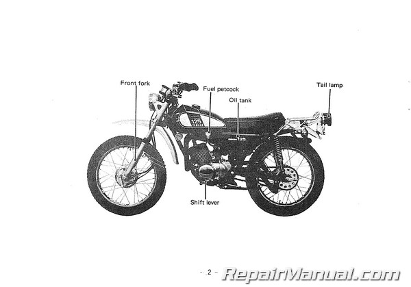 1975 yamaha dt125b motorcycle owners manual