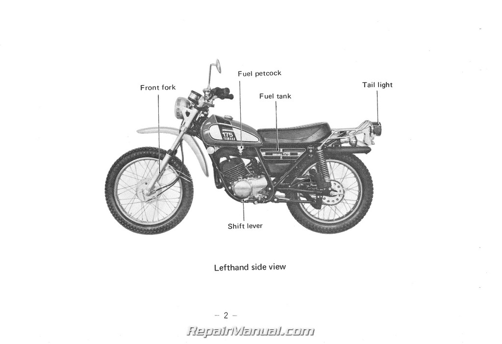 1975 yamaha dt175b motorcycle owners manual