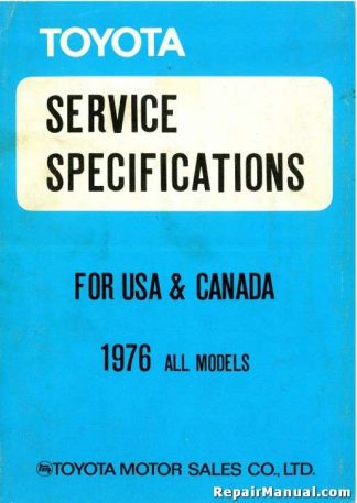 1976 Toyota All Service Specifications Manual