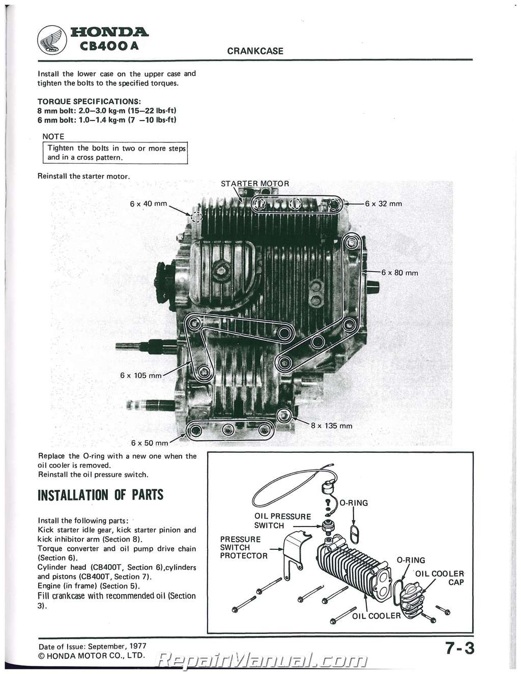 1978 1981 Honda Cb400 Cm400 Motorcycle Service Repair Manual