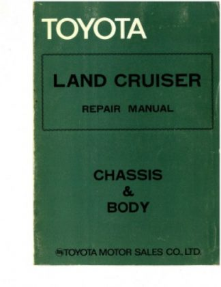 1978 Toyota Land Cruiser Repair Manual Chassis Body