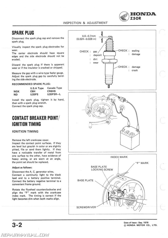 1979-1987 Honda Z50R Motorcycle Service Manual