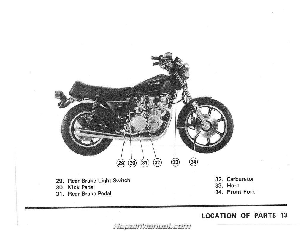 1979 Kawasaki Kz650d2 Sr Series Motorcycle Owners Manual
