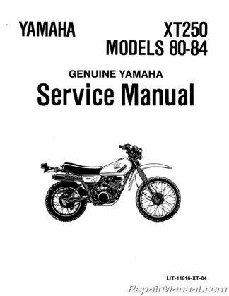 1980-1984 Yamaha XT250 Motorcycle Service Manual