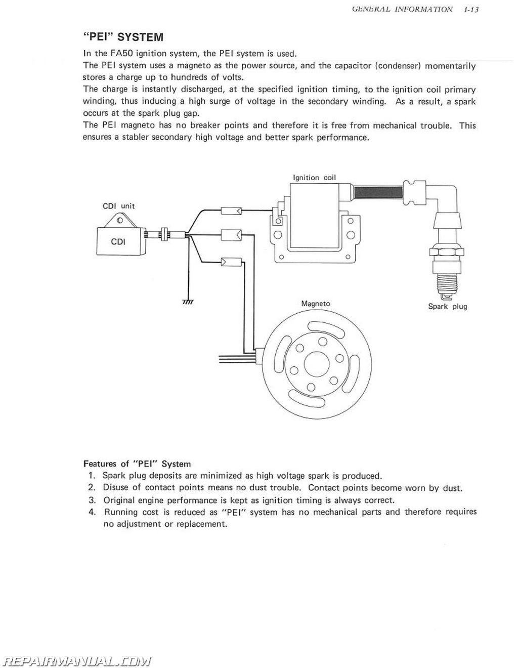 1980-1991 Suzuki FA50 Moped Service Manual | 1980 Suzuki Fa50 Wiring Diagram |  | - Repair Manuals Online