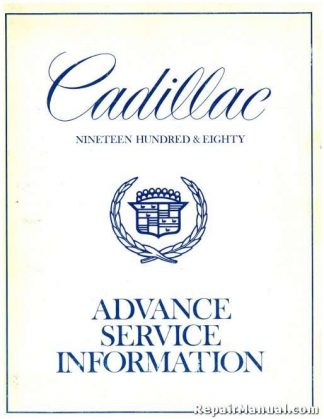 1980 Cadillac Advance Service Information Manual