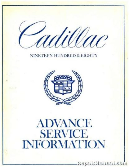 1980 Cadillac Advance Service Information Manual
