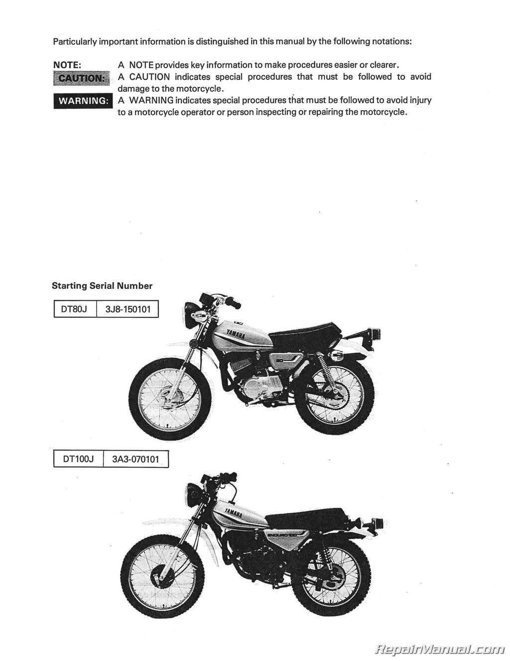 1977 – 1983 Yamaha DT80 GT80 GTMXE DT100 Motorcycle Service Manual