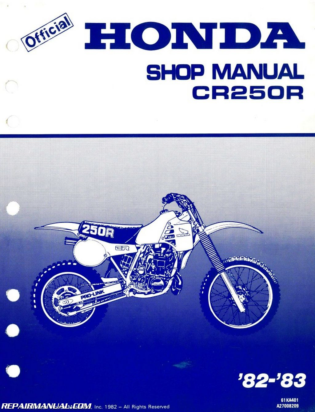 1982 1983 honda cr250r service manual repair manuals online 1982 1983 honda cr250r service manual