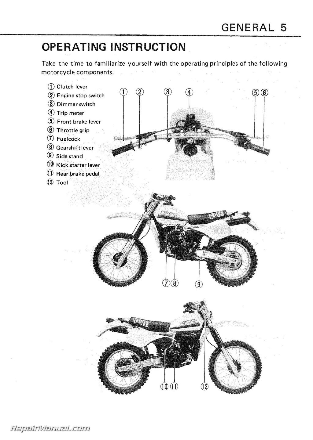 1982 1984 suzuki pe175 motorcycle owners manual rh repairmanual com 1980 Suzuki Pe 175 suzuki pe 175 workshop manual