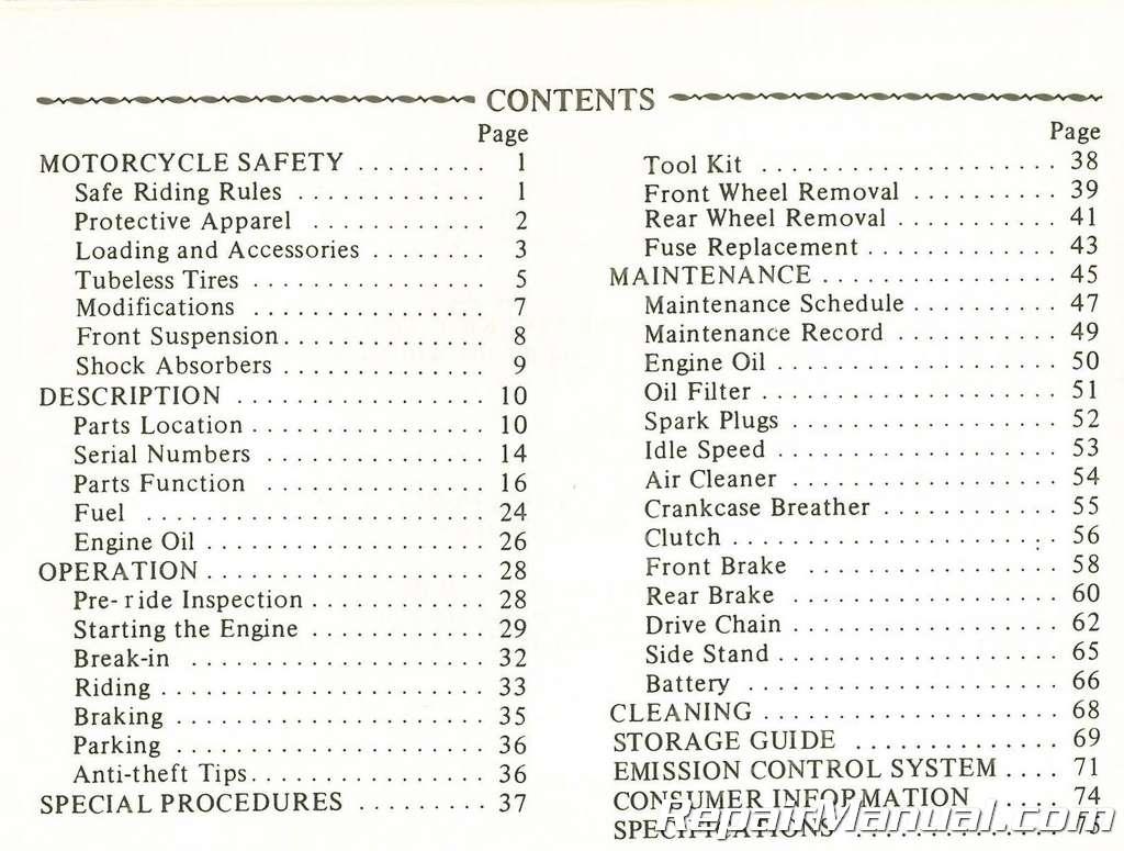 Free 1982 honda Owners manual