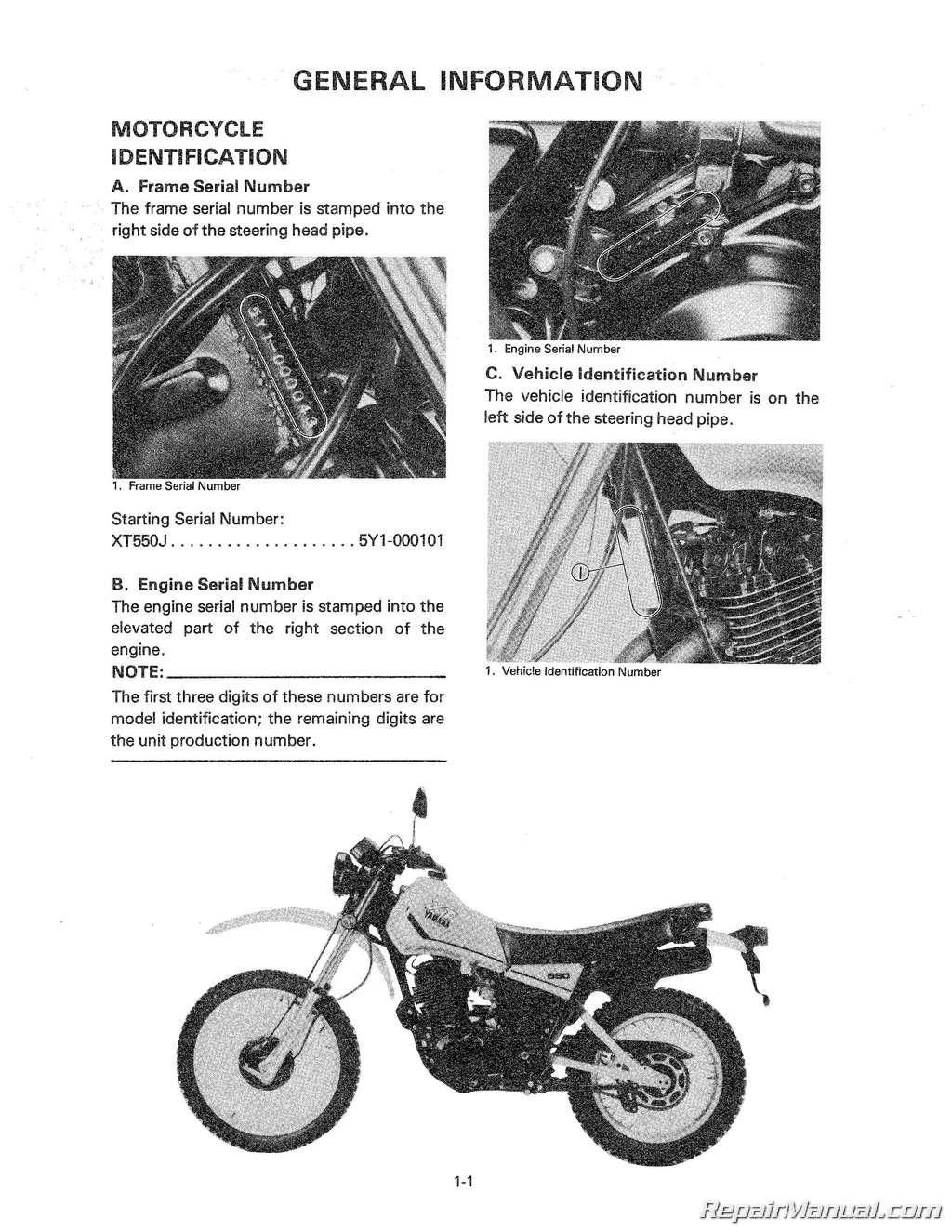 1982 Yamaha XT550 Motorcycle Service Repair Maintenance Manual