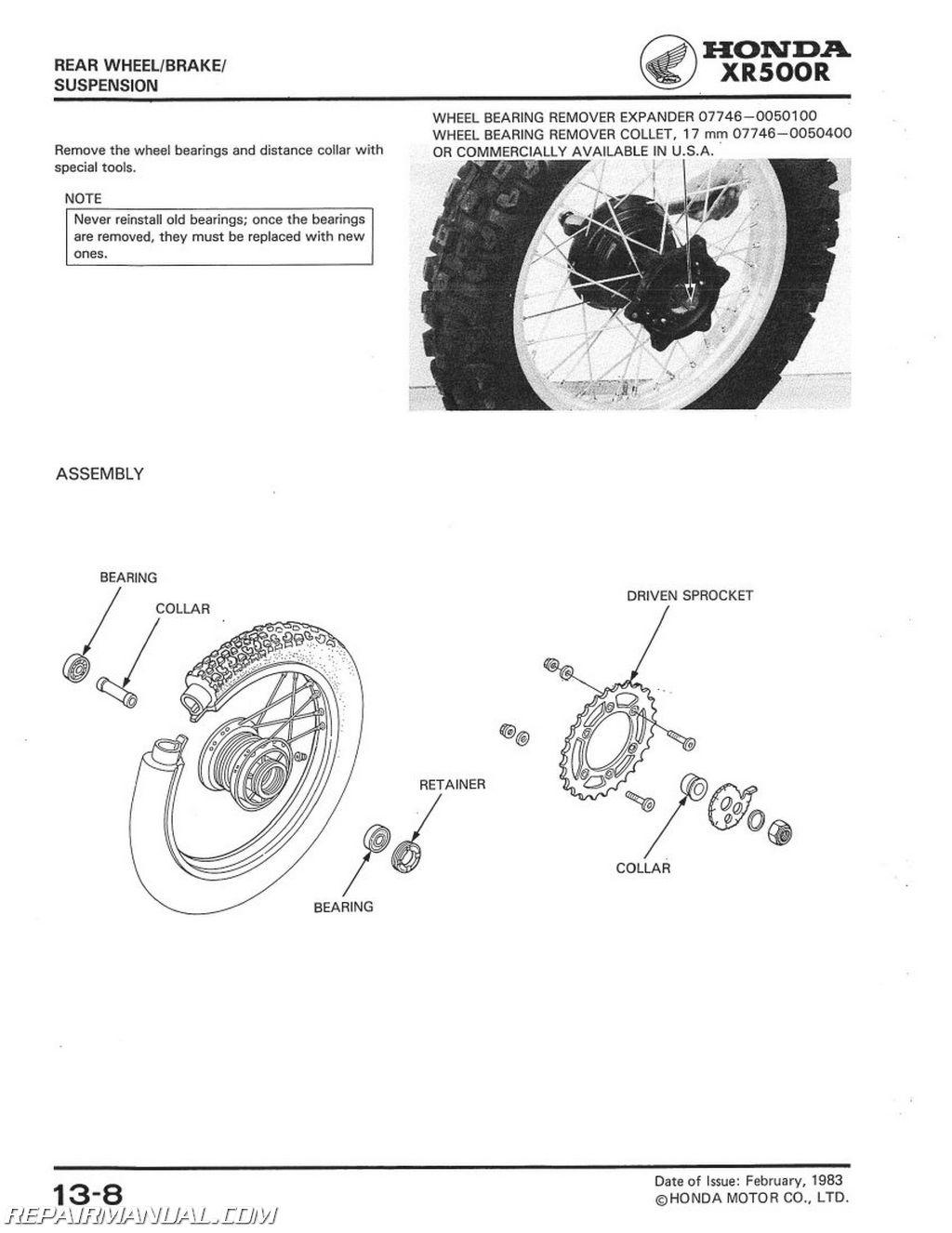 1983 1984 honda xr500r motorcycle service manual rh repairmanual com XR500R Cafe Racer 1984 Honda XR500R