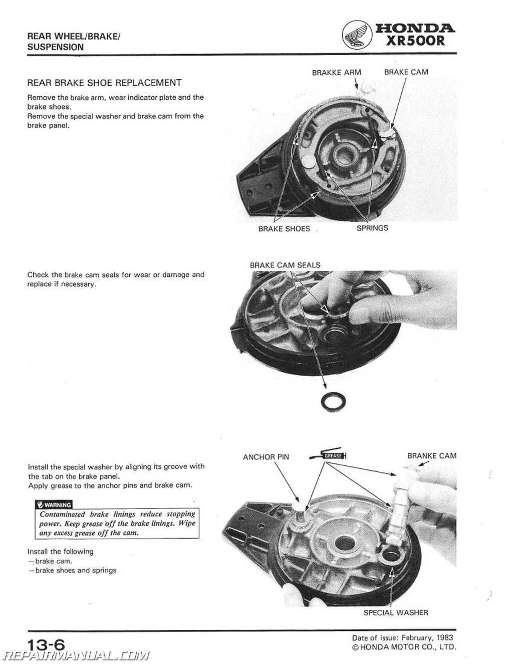 Honda XRR Motorcycle Service Manual - 1977 honda odyssey fl250 wiring diagram