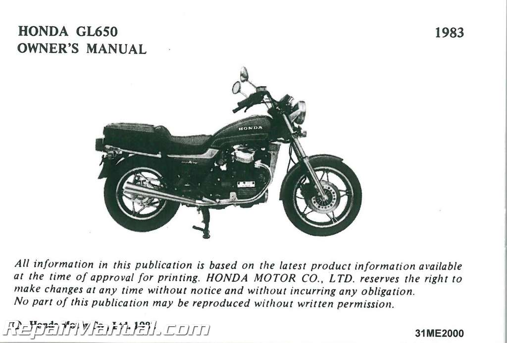 1983 honda gl650 silver wing motorcycle owners manual rh repairmanual com honda silverwing 600 service manual honda silver wing 600 manual