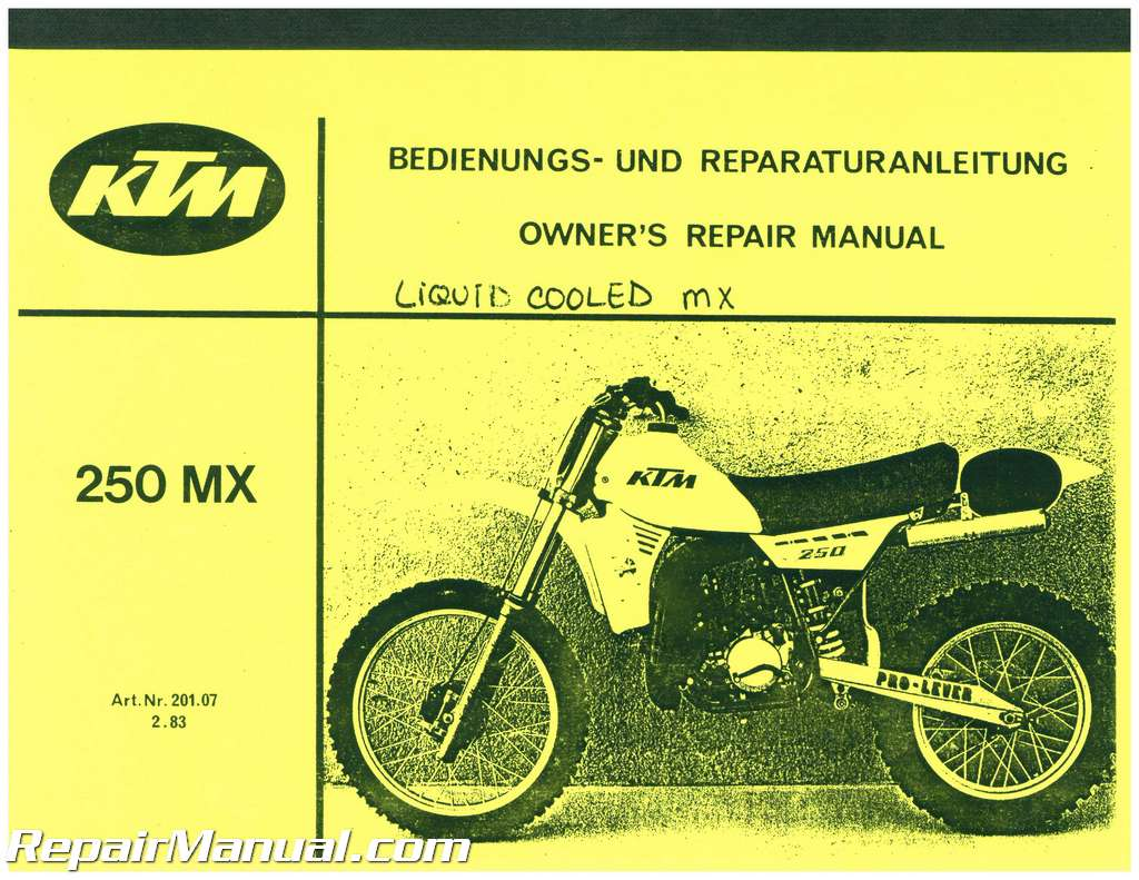 1983 Ktm 250mx Motorcycle Owners Repair Manual