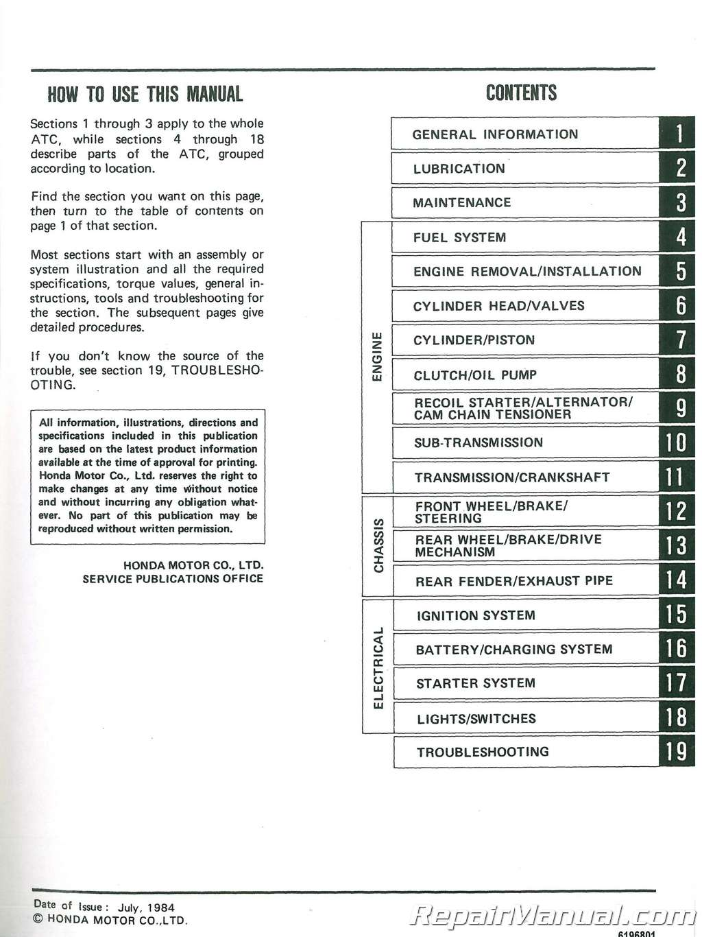 Honda Atc125m Wiring Diagram Trx300 Fourtrax Sl175 125m On 1984 1985 Atc Atv Three Wheeler Service Manual