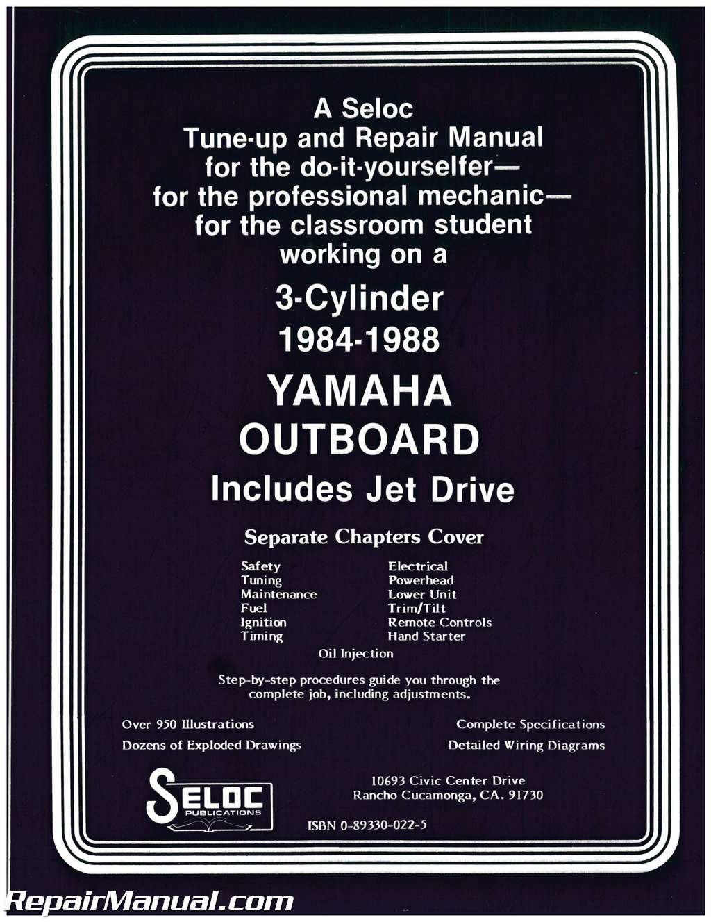 1988 Yamaha Outboard Wiring Diagram Libraries Used 1984 3 Cylinder Engine Repair Manual By Seloc1988
