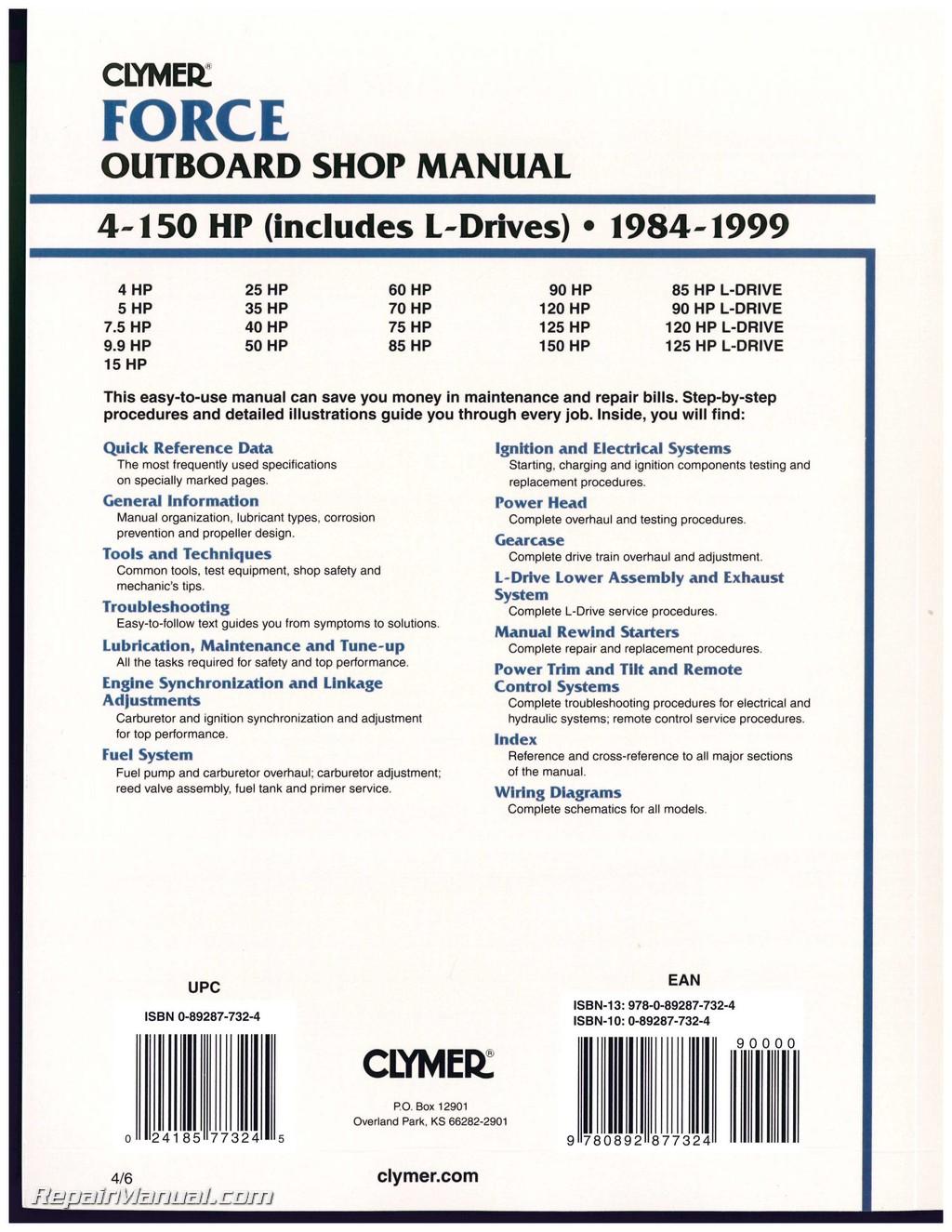 1984 1999 force 4 150 hp outboard boat engine repair for Boat motor repair manuals