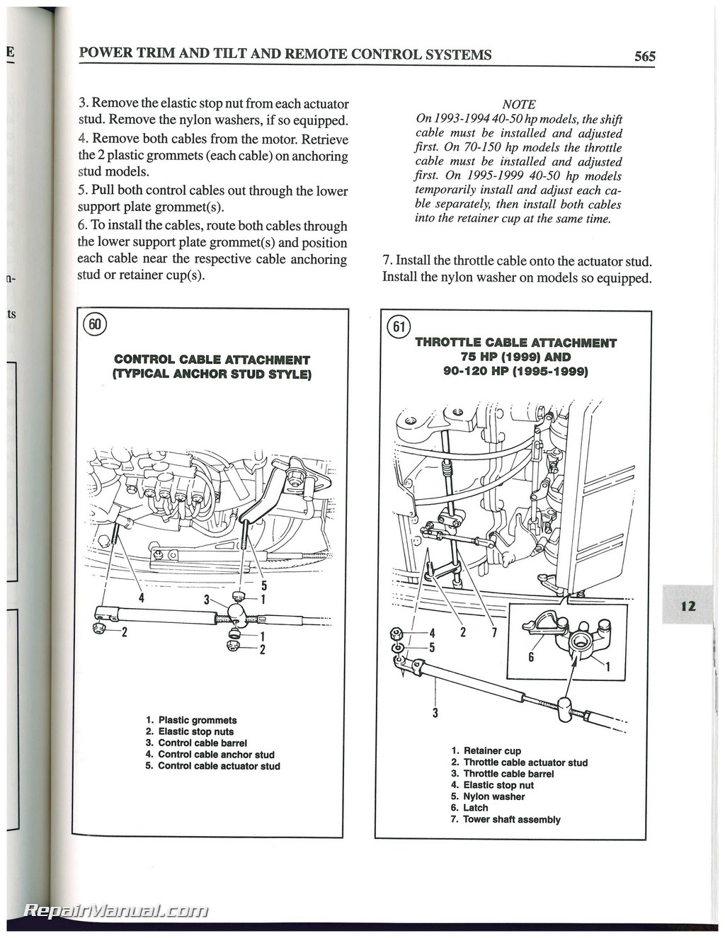 1984 1999 force 4 150 hp outboard boat engine repair manual