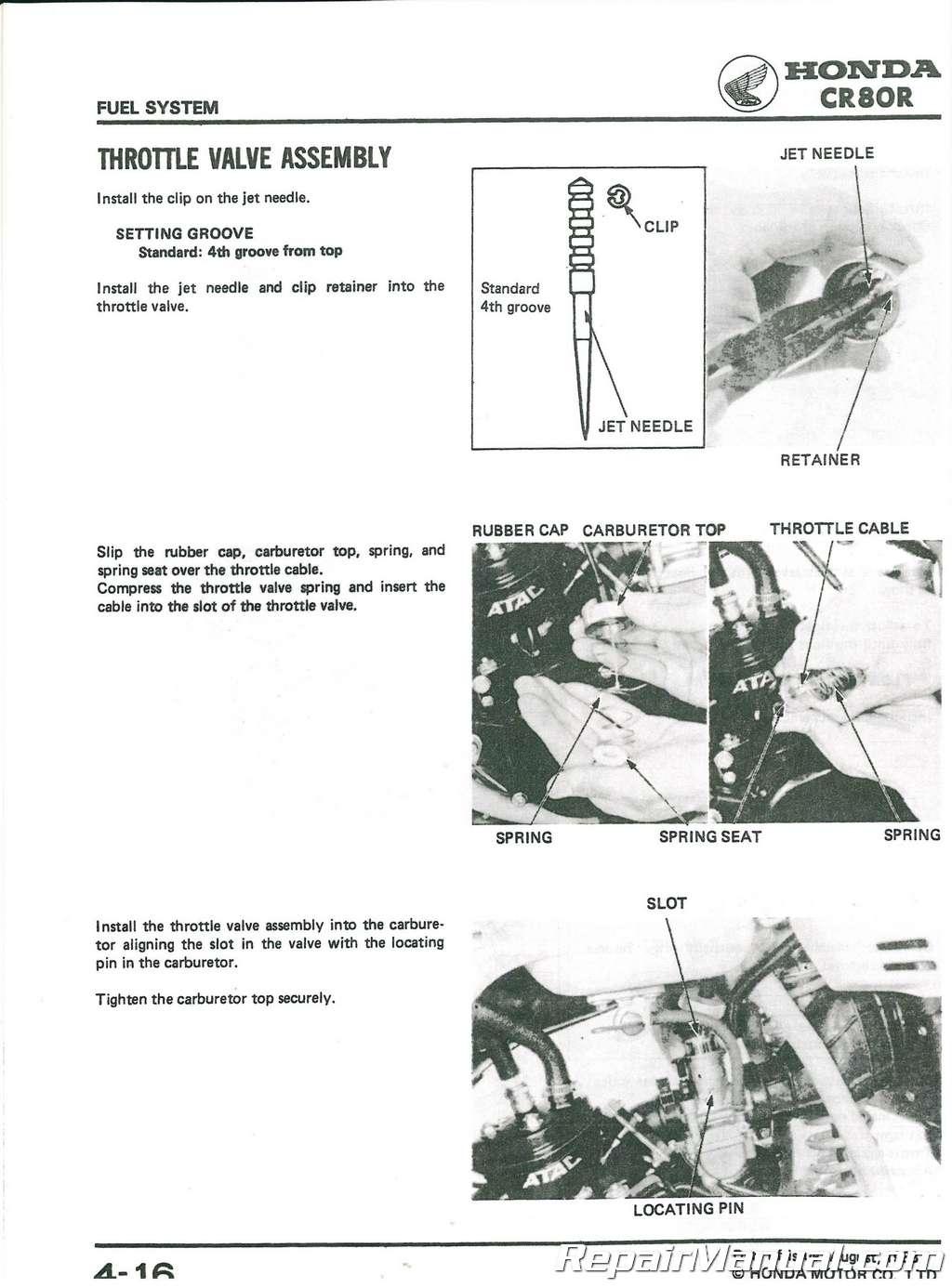 1984 Honda Cr80r Shop Manual