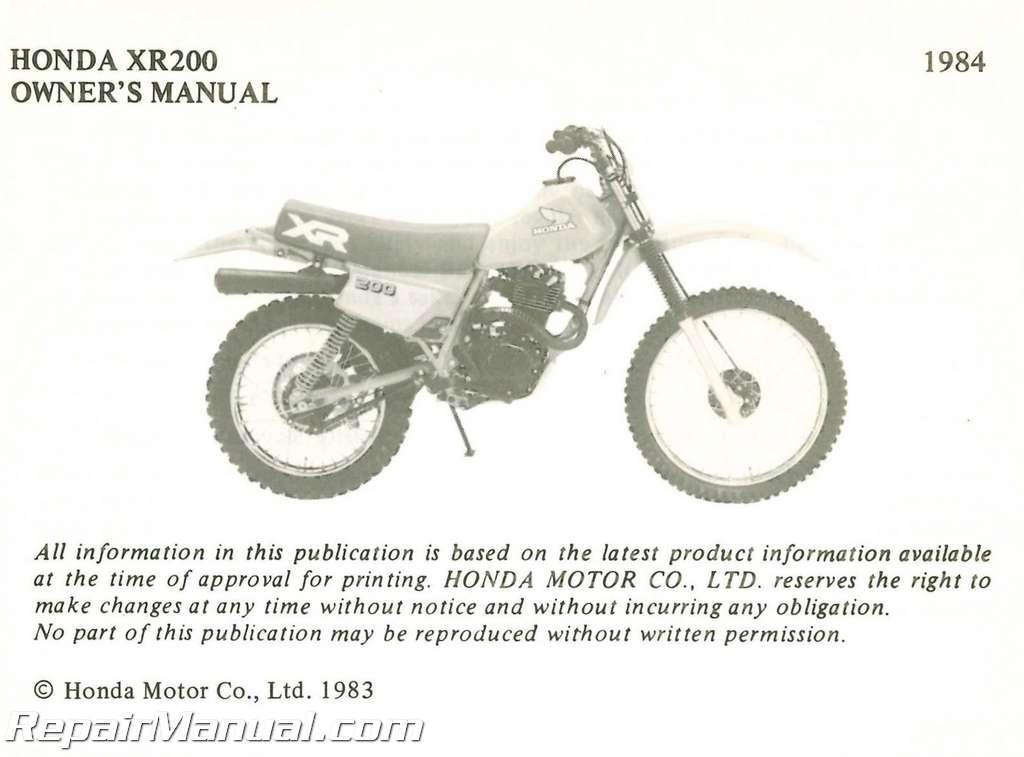 1984 honda xr200 motorcycle owners manual rh repairmanual com honda xr 200 service manual pdf honda xr200r service manual pdf