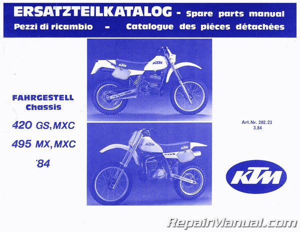 1984 ktm 420 gs mxc 495 mx mxc motorcycle chassis parts manual. Black Bedroom Furniture Sets. Home Design Ideas