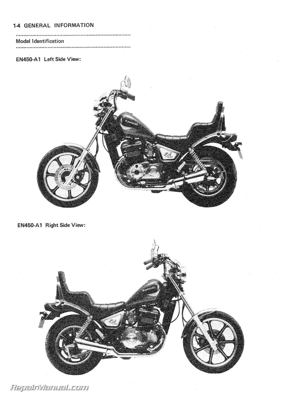 1984 kawasaki en450a1 454 ltd motorcycle service manual