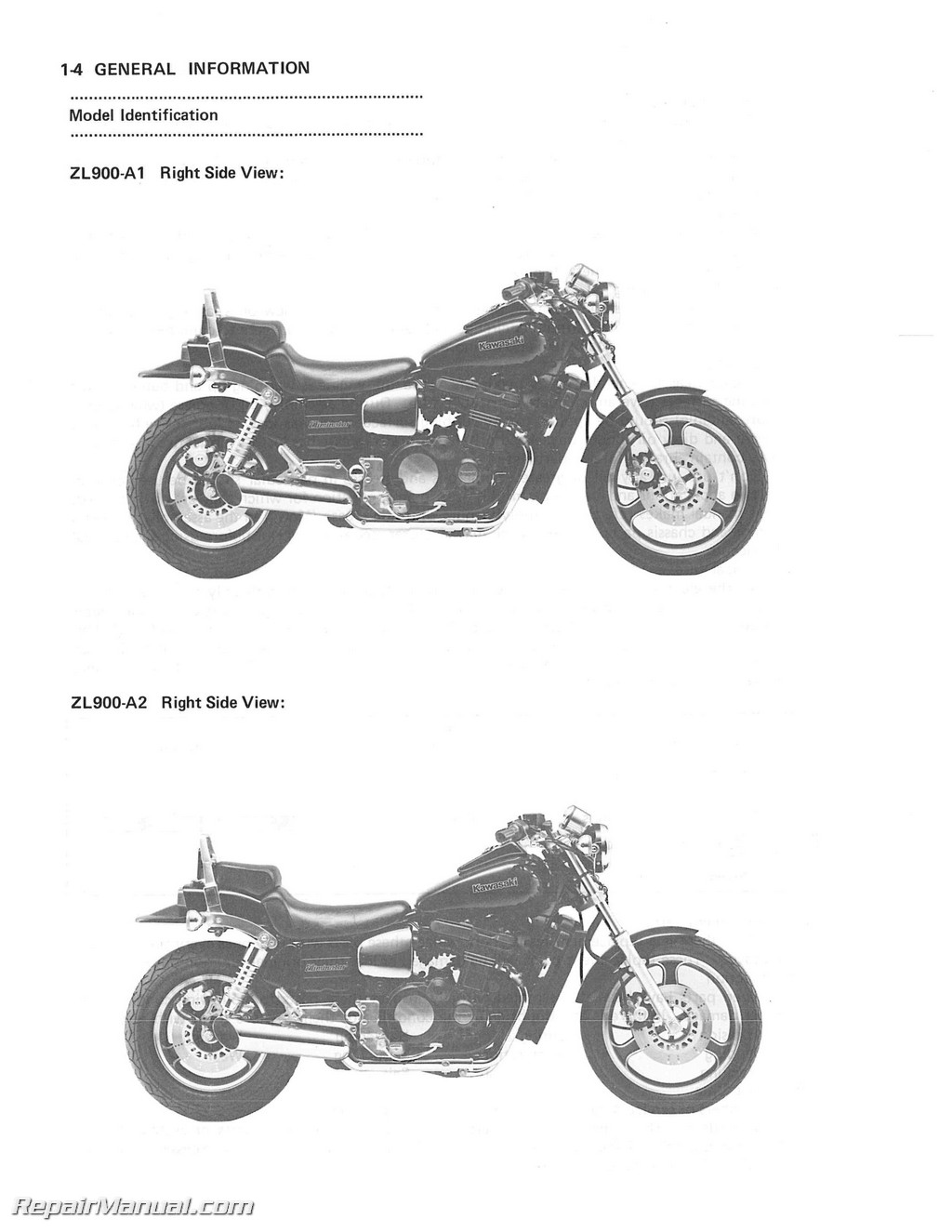 1985-1988 Kawasaki ZL900 ZL1000 Eliminator Motorcycle Service Manual  Supplement